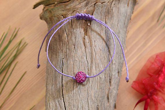Waxed Cotton Cord & 10mm Disco Ball Bead Bracelet  Shiny
