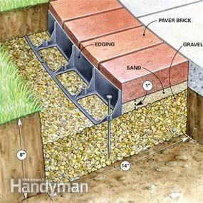 Make an attractive border for a concrete walkway or patio using brick pavers set on a bed of gravel and sand. With a solid gravel base, a brick border will last for the life of your house.