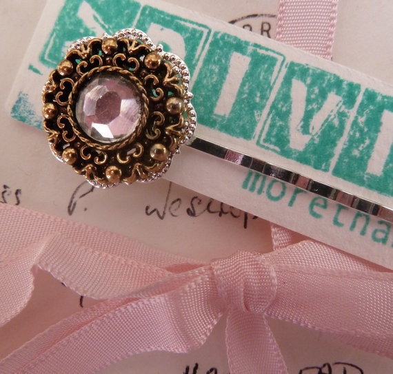 Vintage button hair clip with imitation diamond by morethandivine, £3.00