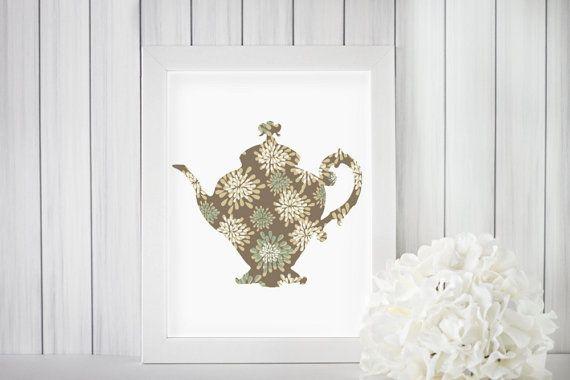 Antique Grey Teapot Silhouette Digital Wall Art  by TwinPoetDesign