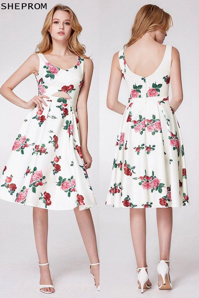 c5013e2fa5 Elegant Floral Print Sweetheart Short Prom Dress -  61  EP05960WH ...