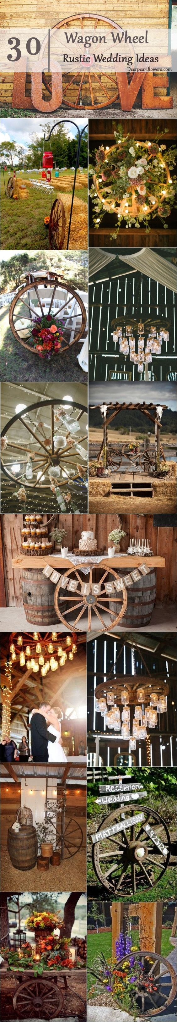 30 Rustic Wagon Wheel Wedding Ideas  / http://www.deerpearlflowers.com/rustic-country-wagon-wheel-wedding-ideas/