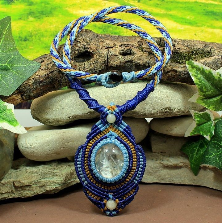 Lodolite Quartz Grounding necklace - macrame bue and tan clear quartz choker