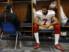 Madden NFL 17 game to add comments on QB Kaepernick's refusal to stand during anthem     - CNET  Enlarge Image  Kaepernick in the locker room. Hes recently refused to stand during the playing of the national anthem saying I am not going to stand up to show pride in a flag for a country that  oppresses black people and people of color.                                              Michael Zagaris/Getty Images                                            San Francisco 49ers QB Colin Kaepernicks…