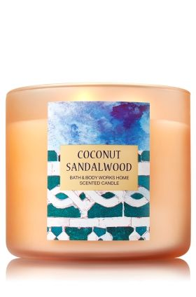 "Coconut Sandalwood - 3-Wick Candle - Bath & Body Works - The Perfect 3-Wick Candle! Made using the highest concentration of fragrance oils, an exclusive blend of vegetable wax and wicks that won't burn out, our candles melt consistently & evenly, radiating enough fragrance to fill an entire room.�Plus, beautiful frosted glass adds cool coastal style to your d�cor!�Burns approximately 25 - 45 hours and measures 4"" wide x 3 1/2"" tall."