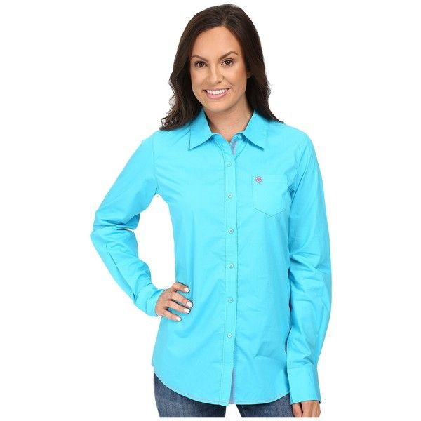 Ariat Kirby Shirt (Endless Turquoise) Women's Long Sleeve Button Up ($50) ❤ liked on Polyvore featuring tops, blue top, long sleeve tops, button up shirts, long sleeve button up shirts and ariat shirts