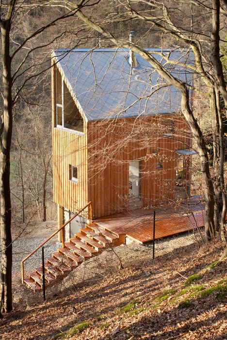 Six-sided timber cabin in the woodlands