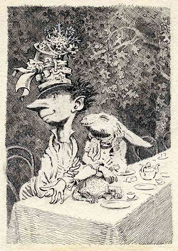 Although Peake is best known for his novels about Titus Groan, the 77th earl of Gormenghast, he also completed a set of drawings for Lewis Carroll's Alice books. Here, he shows the Mad Hatter's Tea Party, complete with March Hare, drawn in 1945