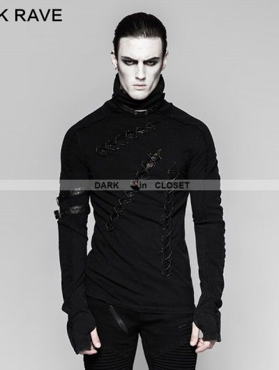 c41959c7 Punk Rave Black Gothic Punk Multiple Loops Do Old Vintage T-Shirt for Men
