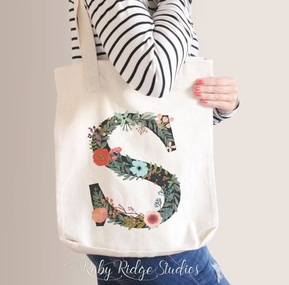 Personalized Floral Tote Bag  Bridesmaid Tote by RubyRidgeStudios