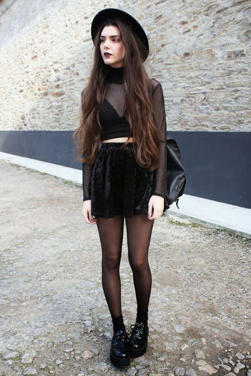 #allblack longer shirt&skirt