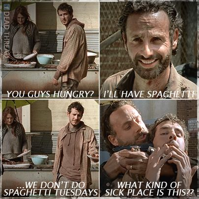 "Spaghetti Tuesdays! TWD. The Walking Dead. Rick Grimes. Alex. Terminus. Mary. ""A"""