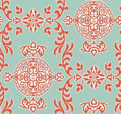 Thibaut Halie Aqua and Coral Wallpaper main image
