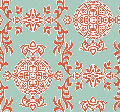 Halie Aqua and Coral wallpaper by Thibaut