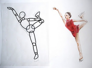 Movement...find pic of movement in magazine (or take their own) then use mini model to mimic pose and sketch.