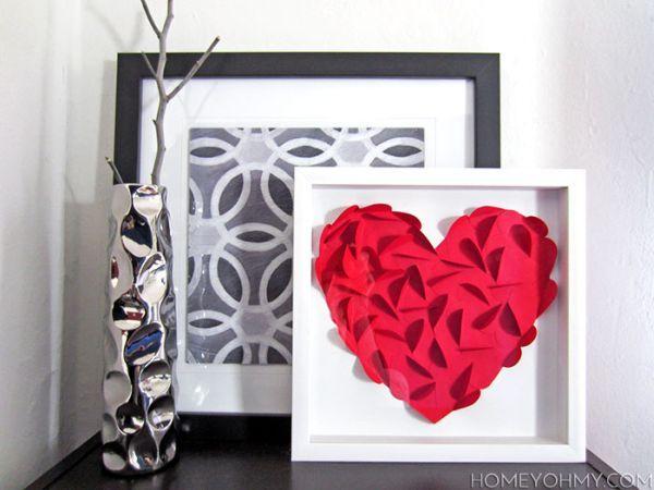 Quadro com coração 3D pode também ter outras cores, se você preferir (Foto: homeyohmy.com)