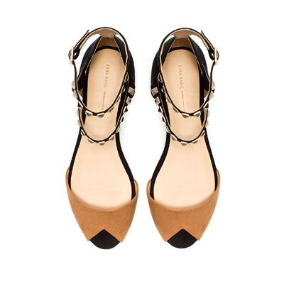 FLAT SANDALS WITH STUDDED ANKLE STRAP - Shoes - Woman - ZARA United States