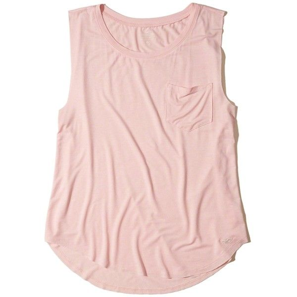 Hollister Must-Have Easy Pocket Tank ($8) ❤ liked on Polyvore featuring tops, light pink, slouchy tops, pink top, light pink tank, pocket tops and crew neck tank top