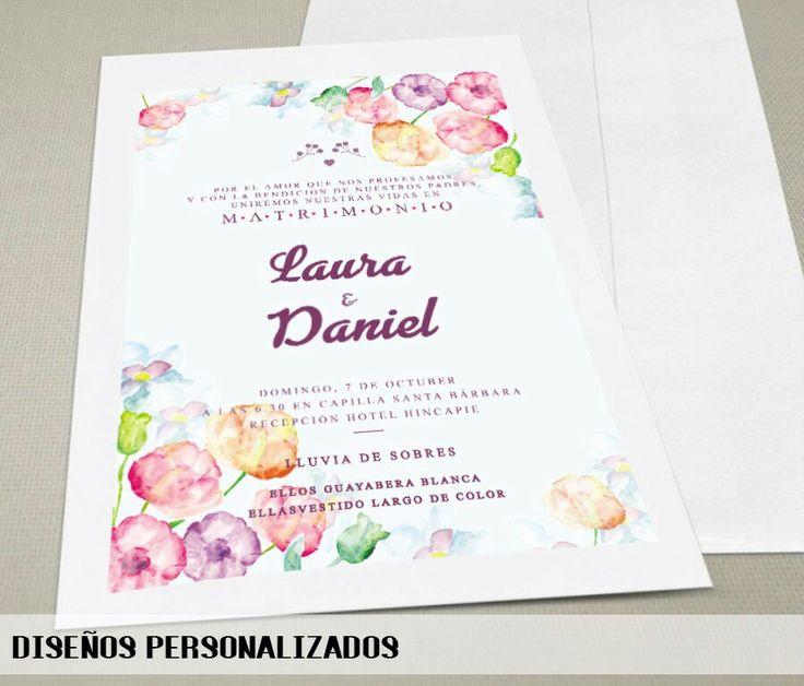 Diseño de Tarjeta de invitación matrimonial.