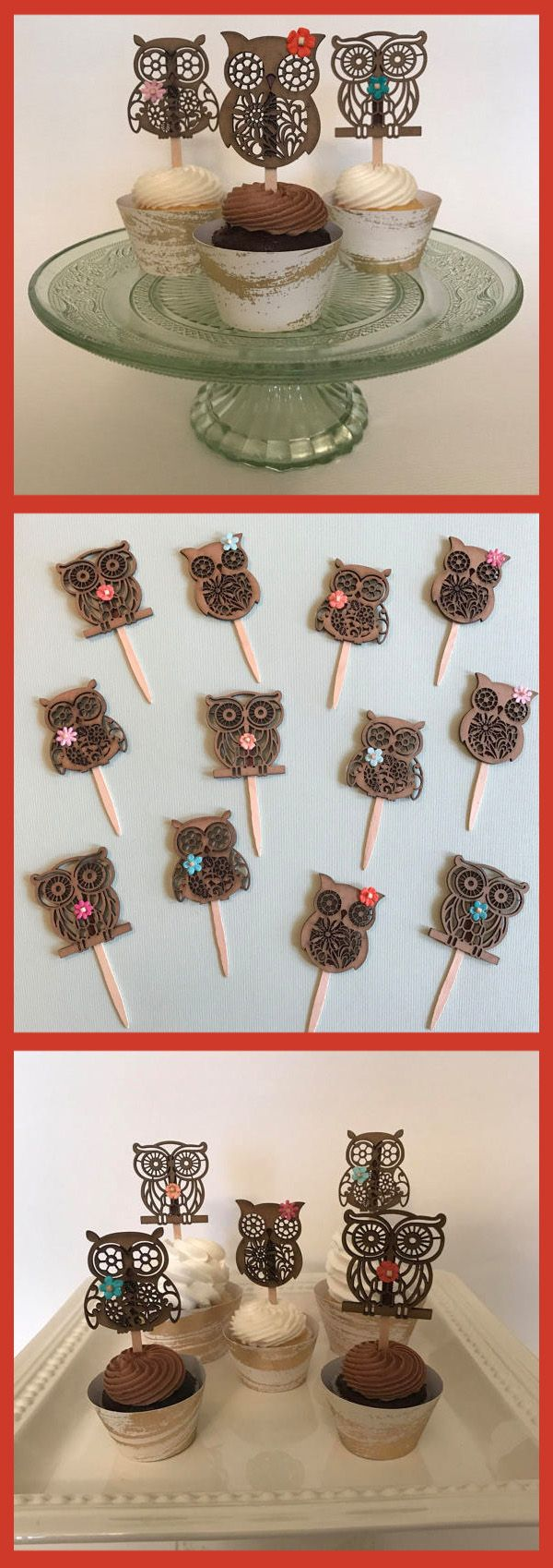 Owl Cupcake Toppers Rustic Owl Party Decorations Girl Birthday Party Baby Shower Bridal Shower First Birthday Woodland Animals Thanksgiving #affiliate #birthdayparty #party #owl #cupcakes #birthdaycakes