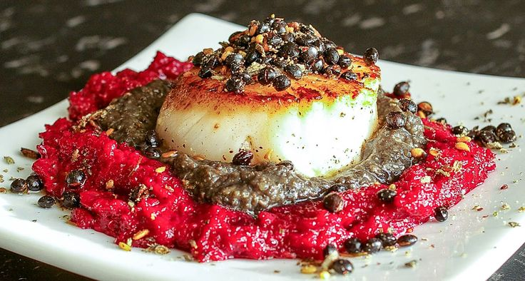 "Beluga Za'atar Scallops on Beet and Lentil Puree | The Yum Yum Factor | Entry into the ""Appetizer"" category"