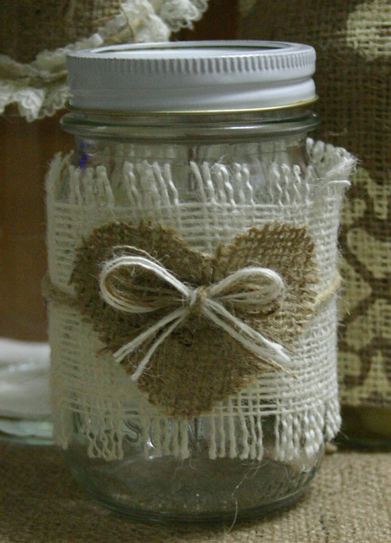 Burlap wedding centerpiece Burlap wedding candle by Bannerbanquet, $7.50