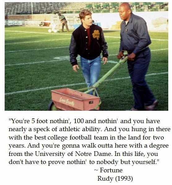 Lessons on persistence and perseverance from tear jerking Notre Dame football movie -- Rudy (1993)