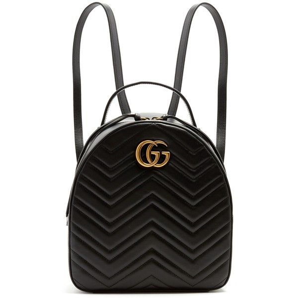 Gucci GG Marmont quilted-leather backpack (9,930 CNY) ❤ liked on Polyvore featuring bags, backpacks, backpack, gucci, black, daypack bag, chevron backpack, gucci knapsack, day pack backpack and quilted leather bag