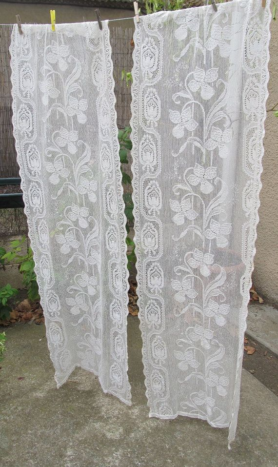 ecru vintage lace curtains cream french by HatchedinFrance on Etsy