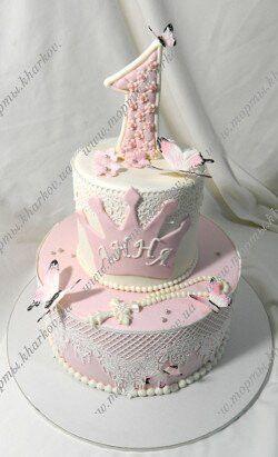 Торт на двойной праздник 1 годик и крестины