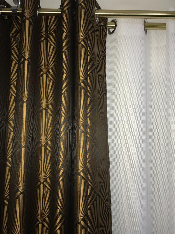 Rideau Tamisant Tilda Noir Et Dore L 140 X H 260 Cm Leroy Merlin Rideaux Dores Rideaux Papier Peint Art Deco
