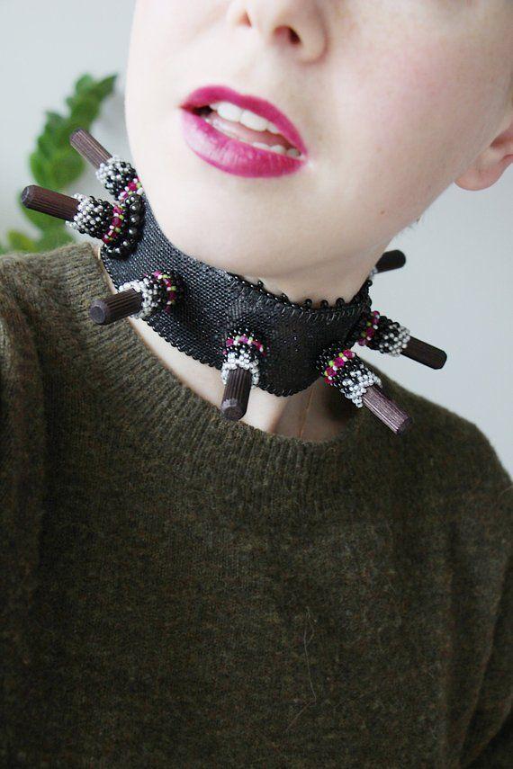 Black beaded Choker  Black Choker Necklace  Gothic Choker  Chunky Necklace