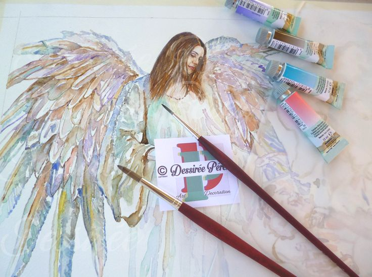 Work in progress, my #custom #watercolorpainting for my next #artexhibition for #crhistmas #wings #angel #girl #art #woman #watercolor #portrait #acquerello #ritratto #personalizzato #natale  #colors . Dessirèe Pèrez all rights reserved