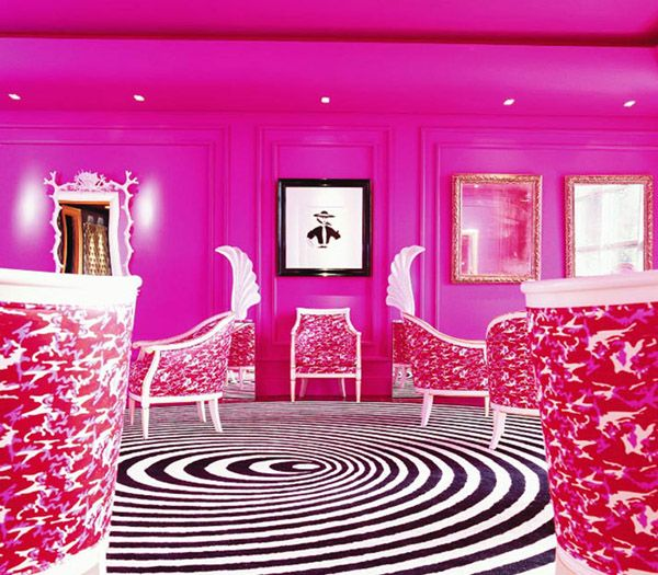 : Pink Color, Decor Ideas, Galway Ireland, Hotels Interiors, Pink Rooms, Interiors Design, Black White, Philip Treacy, Pink Wall
