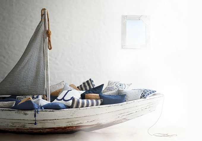 That'd be so awesome, to have a boat filled with pillows on the terrace, probably underneath a tarp or some such.: Boats Beds, Idea, Sailboats, Boys Rooms, Reading Nooks, Beaches Houses, Sailing Away, Pillows, Kids Rooms