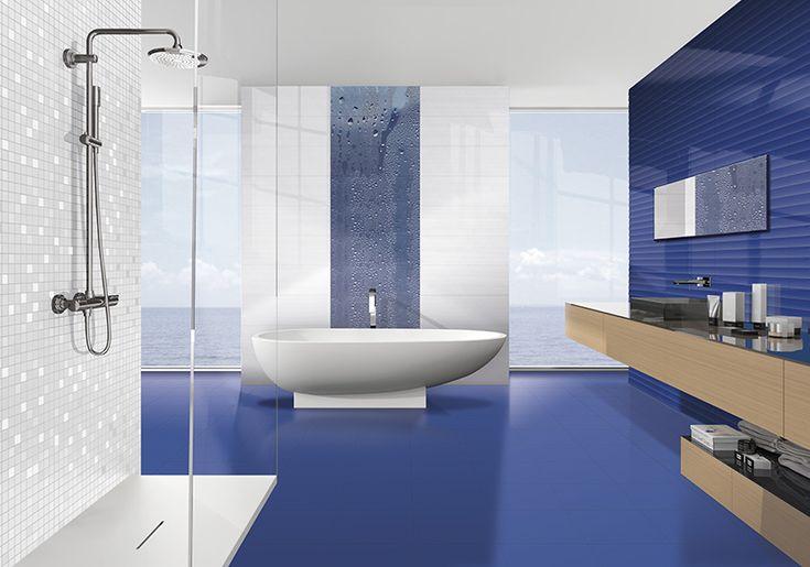 Groove Waterfall Royal Blue 25x75 Ibero Porcelanico price group: B-99
