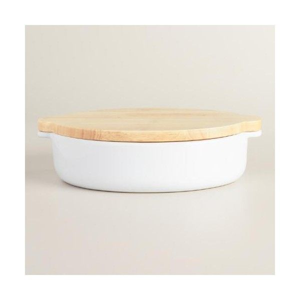 Cost Plus World Market Large White Ceramic Baker with Wood Trivet Lid ($20) ❤ liked on Polyvore featuring home, kitchen & dining, bakeware, white bakeware, white ceramic bakeware, oven to table bakeware, cost plus world market and casserole bakeware