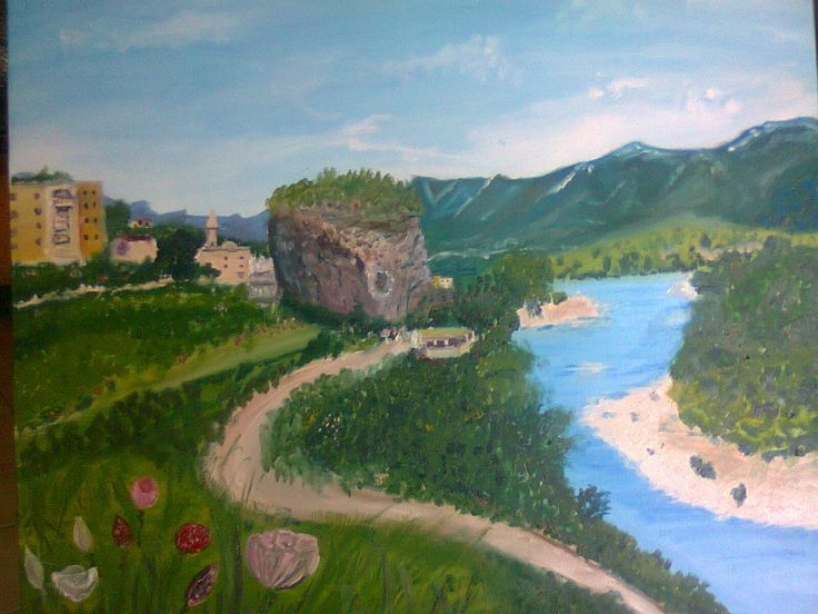 This is a view from one of the cities of Albania, Permet. Its beauty is not quite captured in this oil painting, but I did my best.