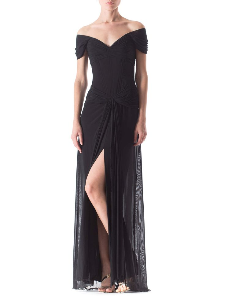 1980s Vicky Tiel Couture Corset Gown with Train