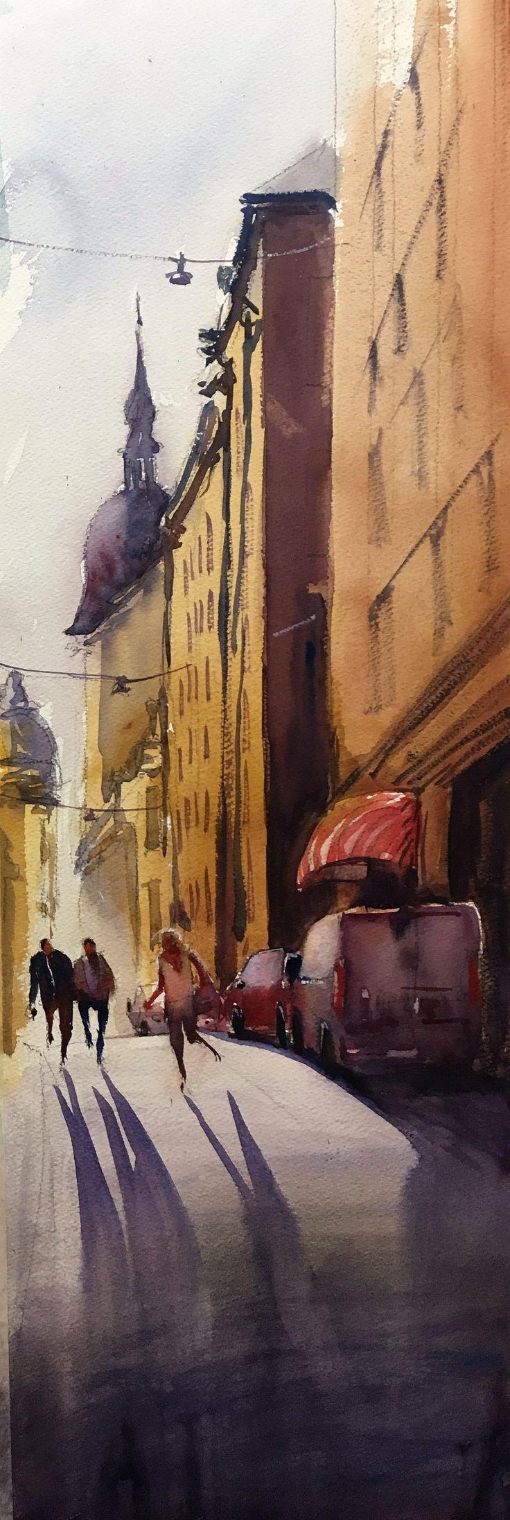 Morgonljus, Stefan Gadnell Akvarell
