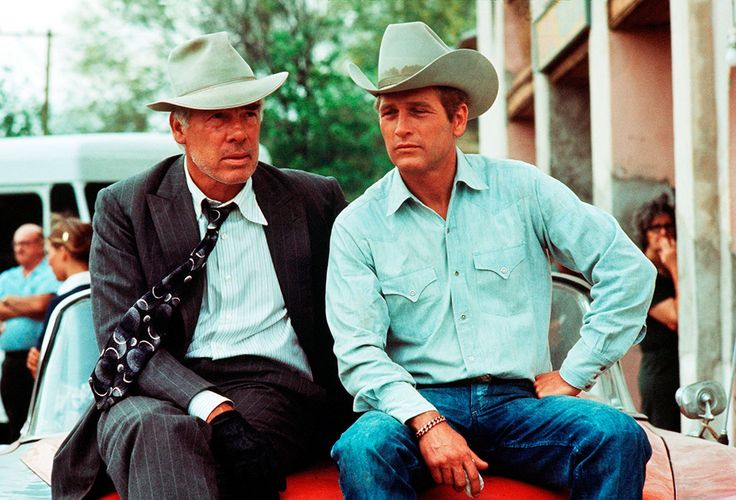 Actors Paul Newman and Lee Marvin wearing cowboy hats in a publicity still for Stuart Rosenberg's 1972 comedy western 'Pocket Money', Tuscon, Arizona.