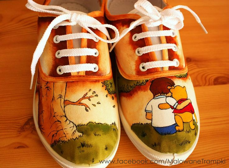 Winnie The Pooh painted sneakers : ) by karka17