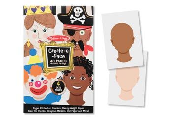 Melissa & Doug Create A Face Express yourself with markers, pencils or crayons with these 40 faces awaiting features, hair, hats and accessories. These premium paper pages can be used as a base for glued-on features. 4 different skin tones allow you to create a fascinating world of characters! $14.95 and in stock. Follow this link for more information http://www.shellstreasures.com.au/#!product/prd1/1215387111/melissa-%26-doug-create-a-face