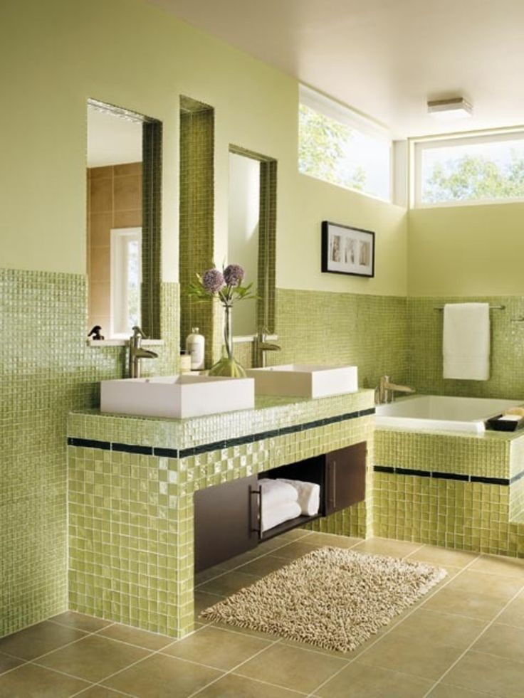 Astounding Design Ideas For Lime Green Bathroom Decoration : Killer Lime  Green Bathroom Design With Square White Bathroom Vessel Sink Including  Green Mosaic ...