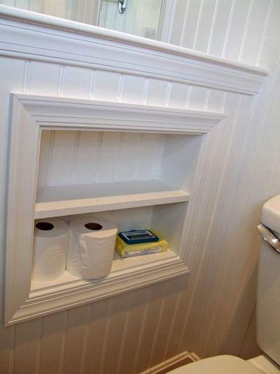 Toilet paper storage cubby on half wall / bath ideas - Juxtapost