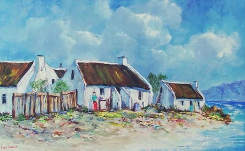 """Buy AN ORIGINAL LOUIS PRETORIUS:"""" Fisherman's Cottages"""" (900mm x 550mm x 20mm )for R3,400.00"""