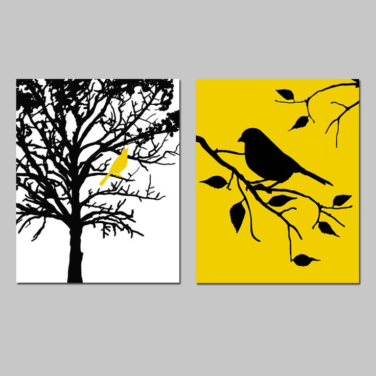 Birds and trees set of two 8x10 prints bathroom nursery kitchen bedroom choose your colors yellow blackblack and white canvasblack