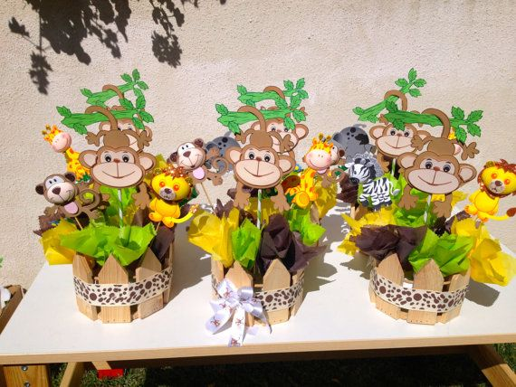 Jungle theme baby shower centerpieces x 10 baby showers for Baby shower party junge