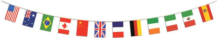 International Flags Pennant Banner with 12 Flags - 12 inch x 14 feet 6 inch Case Pack 12