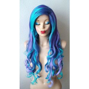 Mermaid wig. Purple/ lavender/ Blue/ Teal blue wig. Long wavy hairstyle side bangs wig. Mermaid Cosplay wig.